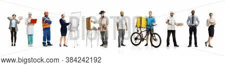 Group Of People With Different Professions On White Studio Background, Horizontal. Modern Workers Of