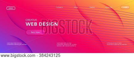 Colorful Fluid Shape. Flow Abstract Flyer. Vivid Gradient Lines. Technology Fluid Shape. Modern Text