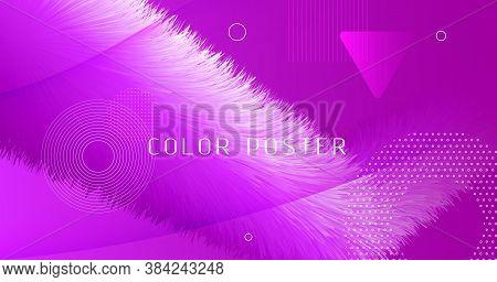 3d Movement. Flow Cover. Pink Gradient Pattern. Liquid Geometric Poster. Vibrant Motion. 3d Movement