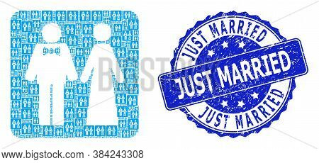 Just Married Grunge Round Stamp Seal And Vector Recursive Composition Just Married Persons. Blue Sta