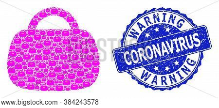 Warning Coronavirus Dirty Round Seal Print And Vector Recursive Collage Handbag. Blue Stamp Seal Inc