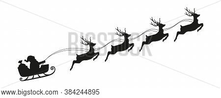 Santa Claus In A Christmas Sleigh With Reindeer Silhouette Vector Illustration Eps10