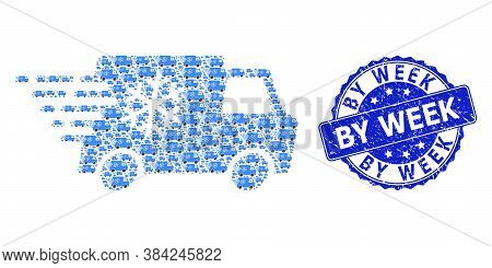 By Week Textured Round Stamp Seal And Vector Recursion Mosaic Refrigerator Car. Blue Stamp Seal Cont