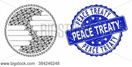 Peace Treaty Scratched Round Stamp And Vector Recursion Collage Hands Circle. Blue Stamp Seal Includ