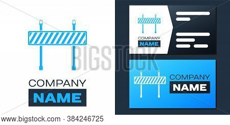 Logotype Road Barrier Icon Isolated On White Background. Fence Of Building Or Repair Works. Hurdle I