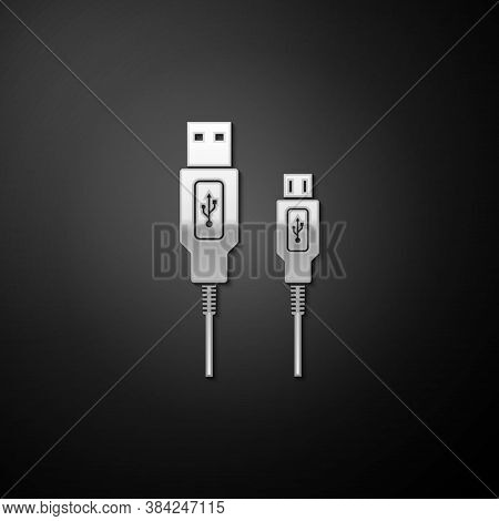 Silver Usb Micro Cables Icon Isolated On Black Background. Connectors And Sockets For Pc And Mobile