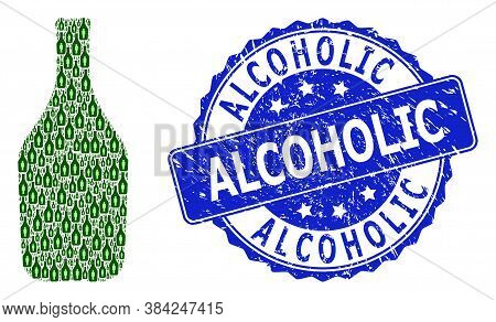 Alcoholic Grunge Round Stamp Seal And Vector Recursion Collage Alcoholic Person. Blue Seal Contains
