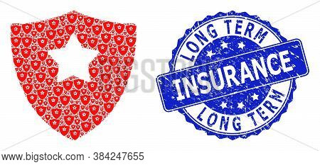 Long Term Insurance Textured Round Seal Print And Vector Fractal Collage Guard Shield. Blue Stamp Se