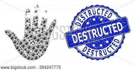 Destructed Corroded Round Stamp Seal And Vector Recursion Mosaic Destructed Hand. Blue Stamp Seal In