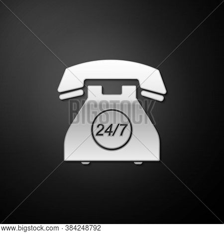 Silver Telephone 24 Hours Support Icon Isolated On Black Background. All-day Customer Support Call-c