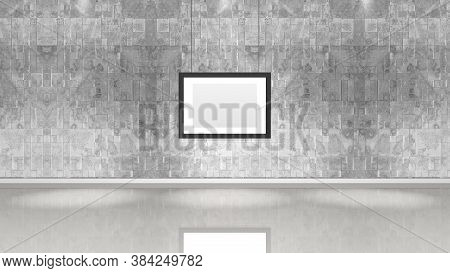Art Museum Wall With A Single Horizontal Frame. Horizontal Image. Industrial Style Modern Museum. 3d
