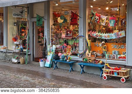 Gothenburg, Sweden - August 27, 2018: Colorful Toy Stor Krabat In Gothenburg, Sweden. Gothenburg Is