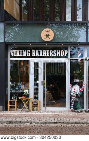 Gothenburg, Sweden - August 27, 2018: Viking Barber Shop In Gothenburg, Sweden. Gothenburg Is The 2n