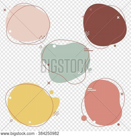 Simple Pastel Speech Bubbles Set Isolated With Transparent Background, Vector Illustration