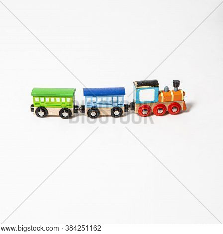 Toy Woodden Colorful Small Train On White Background