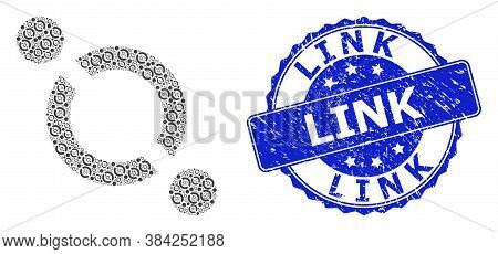 Link Scratched Round Stamp And Vector Recursion Collage Link. Blue Stamp Seal Has Link Caption Insid