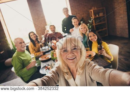 Self-portrait Of Nice Attractive Big Full Family Brother Sister Gathering Parents Grandparents Grand