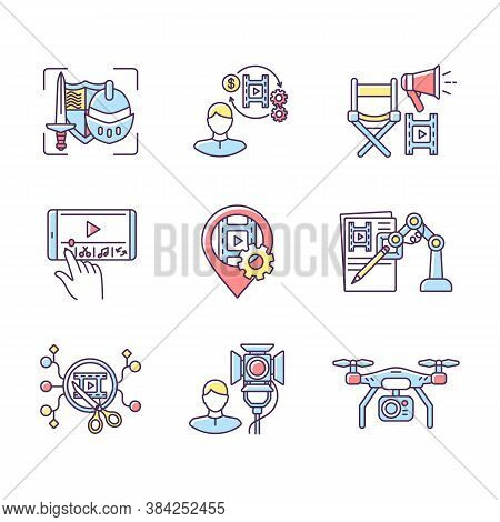 Film Making Process Rgb Color Icons Set. Theatrical Prop For Historical Drama. Producer For Movie Pr