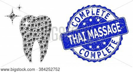 Complete Thai Massage Corroded Round Stamp Seal And Vector Recursion Collage Excellent Tooth. Blue S