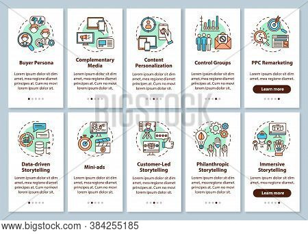 Multichannel Marketing Onboarding Mobile App Page Screen With Concepts Set. Storytelling, Media Stra