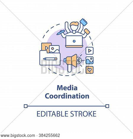 Media Coordination Concept Icon. Social Media Event Coverage Idea Thin Line Illustration. Multitaski