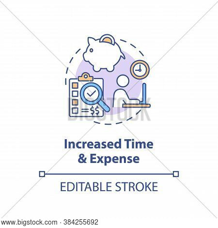 Increased Time, Expense Concept Icon. Market Value Idea Thin Line Illustration. Time Management. Adv