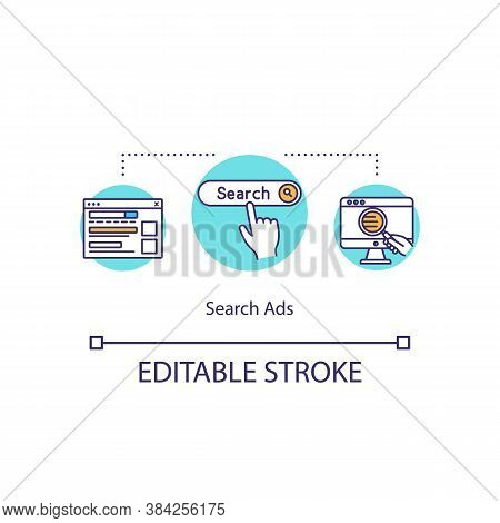 Search Ads Concept Icon. Banner Advertising Idea Thin Line Illustration. Digital Display Advertising
