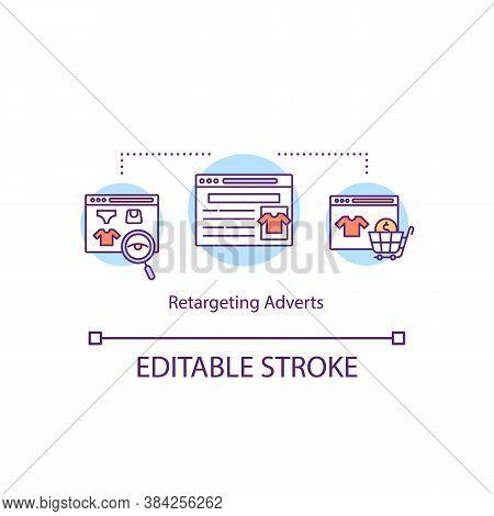 Retargeting Adverts Concept Icon. Online Shopping Idea Thin Line Illustration. Digital Marketing Str