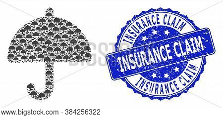 Insurance Claim Unclean Round Stamp And Vector Fractal Mosaic Umbrella. Blue Stamp Seal Contains Ins