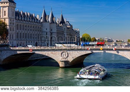 Paris, France - September 26, 2018: Boat Trip On The Seine. Popular Form Of Recreation For Tourists.