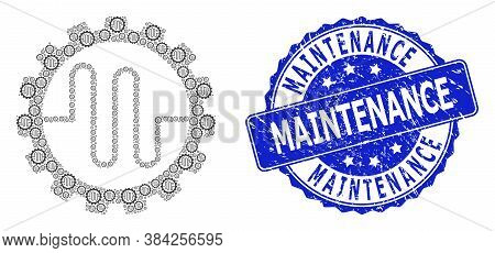 Maintenance Dirty Round Seal And Vector Recursion Collage Pipe Service Cog. Blue Seal Has Maintenanc