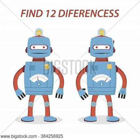 Robot Kids Game Find 12 Differences For Fun