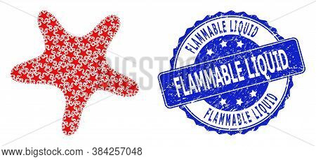 Flammable Liquid Corroded Round Stamp Seal And Vector Recursive Mosaic Bent Star. Blue Seal Includes