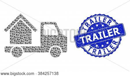Trailer Grunge Round Seal Print And Vector Recursive Composition House Trailer. Blue Stamp Seal Has