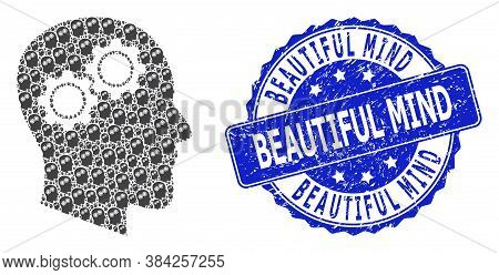 Beautiful Mind Unclean Round Stamp Seal And Vector Recursive Mosaic Head Gears. Blue Stamp Contains