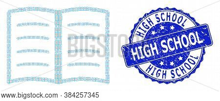 High School Corroded Round Seal And Vector Recursive Mosaic Open Book. Blue Stamp Seal Includes High