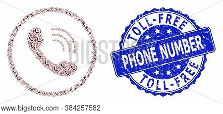 Toll-free Phone Number Corroded Round Seal And Vector Recursive Collage Telephone Call. Blue Stamp S