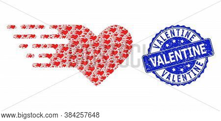 Valentine Textured Round Stamp And Vector Fractal Mosaic Valentine Heart. Blue Stamp Contains Valent