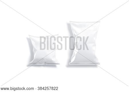 Blank White Foil Big And Small Chips Pack Mockup, Isolated, 3d Rendering. Empty Bitlong Or Popcorn P