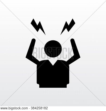 Depress, Sad, Angry, Stress Man Icon Design. Angry Person Flat Style Icon Design Vector Illustration