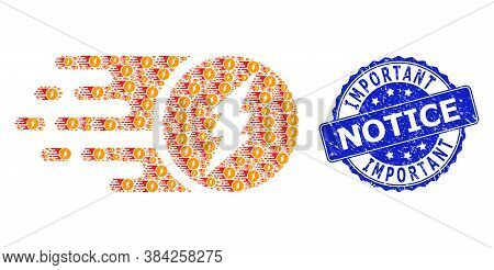 Important Notice Grunge Round Stamp And Vector Recursive Composition Electric Charge. Blue Stamp Sea