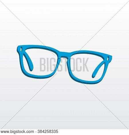 3d Style Blue Gradient Eyeglasses Icon Vector Illustration. Blue Eyeglasses Silhouette Isolated On W