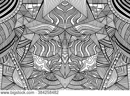 Coloring Page Abstract Pattern, Maze Of Ornaments. Psychedelic Stylish Card.