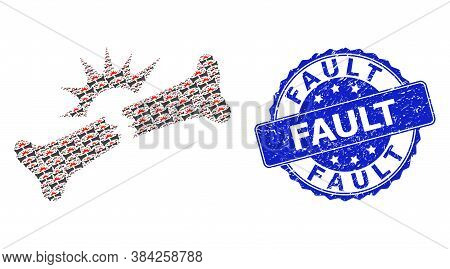 Fault Scratched Round Stamp Seal And Vector Recursive Collage Bone Fracture. Blue Stamp Seal Has Fau