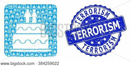 Terrorism Rubber Round Seal Imitation And Vector Fractal Collage Marriage Cake. Blue Seal Has Terror