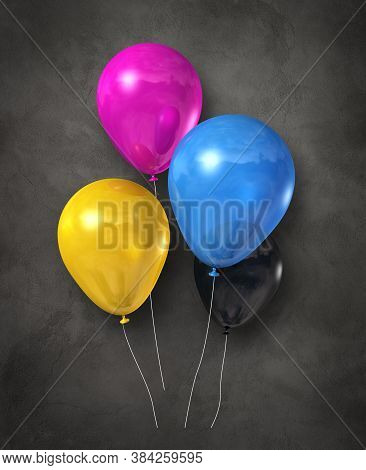 Cmyk Air Balloons Group On A Dark Concrete Background. 3d Illustration Render