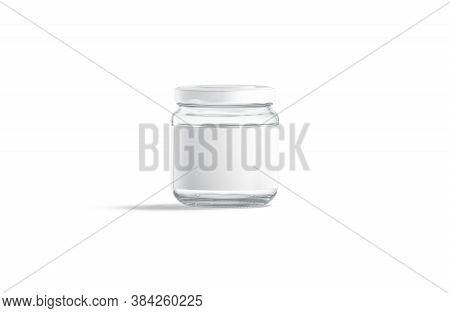 Blank Small Glass Jar With White Label Mockup Stand, Isolated, 3d Rendering. Empty Closed Preservati