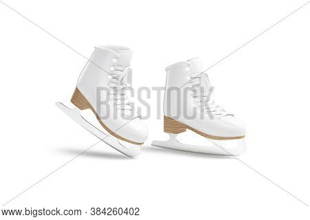 Blank White Ice Skates Mockup On Tiptoe, Half-turned View., 3d Rendering. Empty Footwear With Lace F