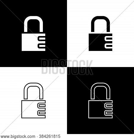 Set Safe Combination Lock Icon Isolated On Black And White Background. Combination Padlock. Security