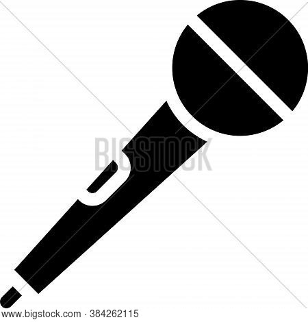 Black Microphone Icon Isolated On White Background. On Air Radio Mic Microphone. Speaker Sign. Vecto